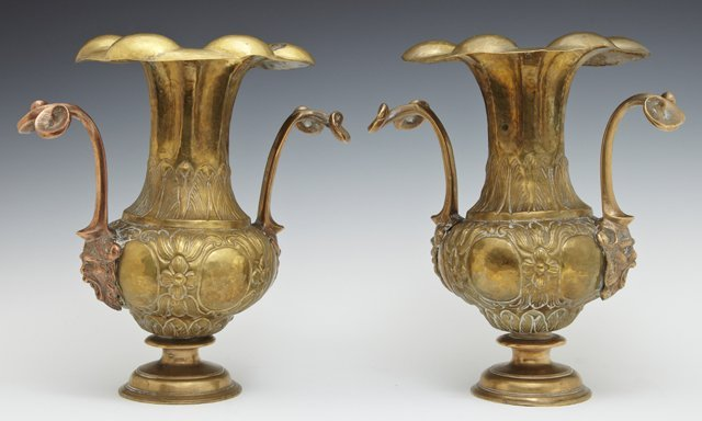 Pair of Louis XVI Style Brass Vases, 20th c., the