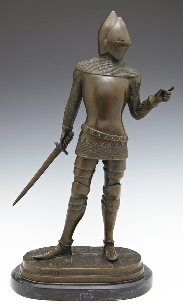 "R. Clinet, ""Knight in Armor,"" patinated bronze, 20th"