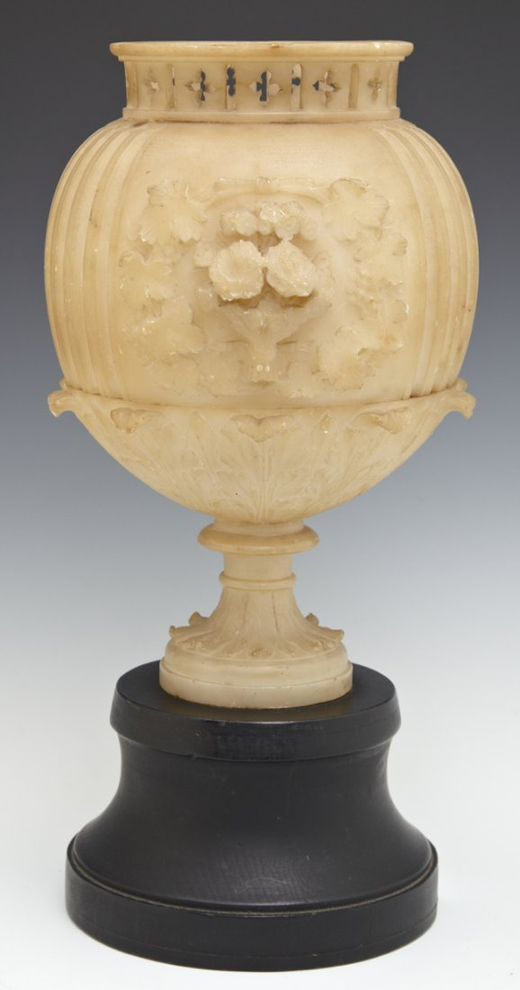 Carved Alabaster Baluster Urn Form Lamp, early 20th c.,