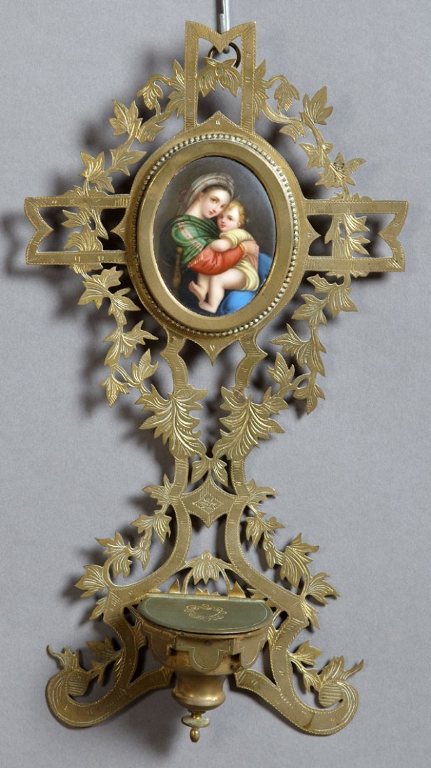 French Pierced Bronze Holy Water Font, 19th c., the