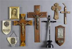 Group of Nine French Religious Items, early 20th c.,