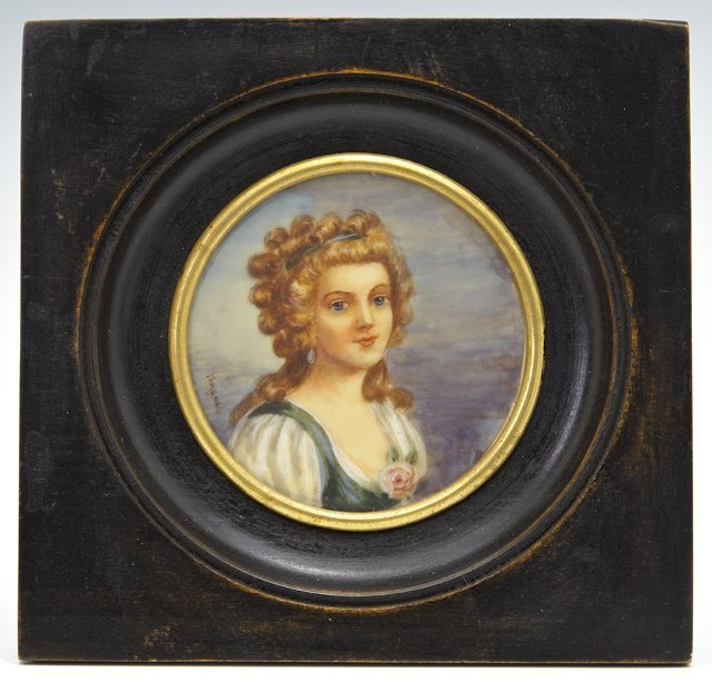 """Noignet, """"Mme Boulier,"""" 19th c., miniature, signed left"""