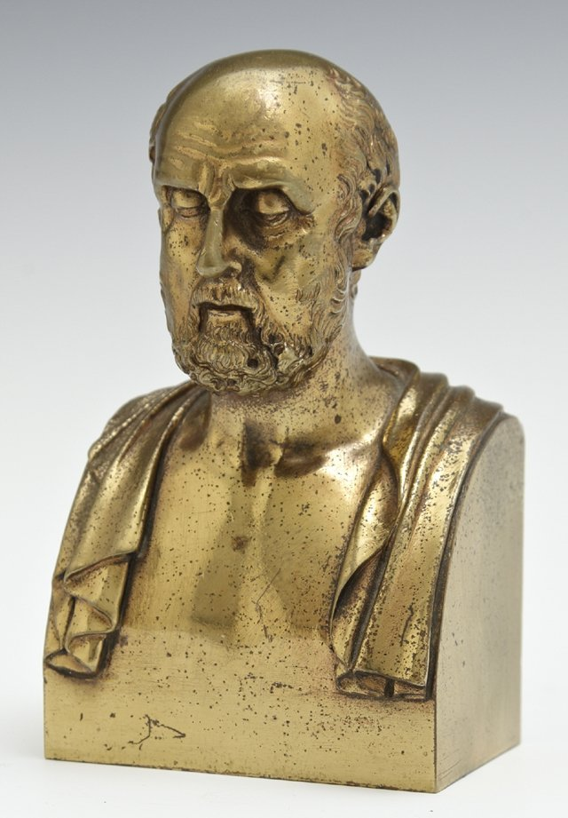 Gilt Bronze Cabinet Bust, early 20th c., of Socrates,