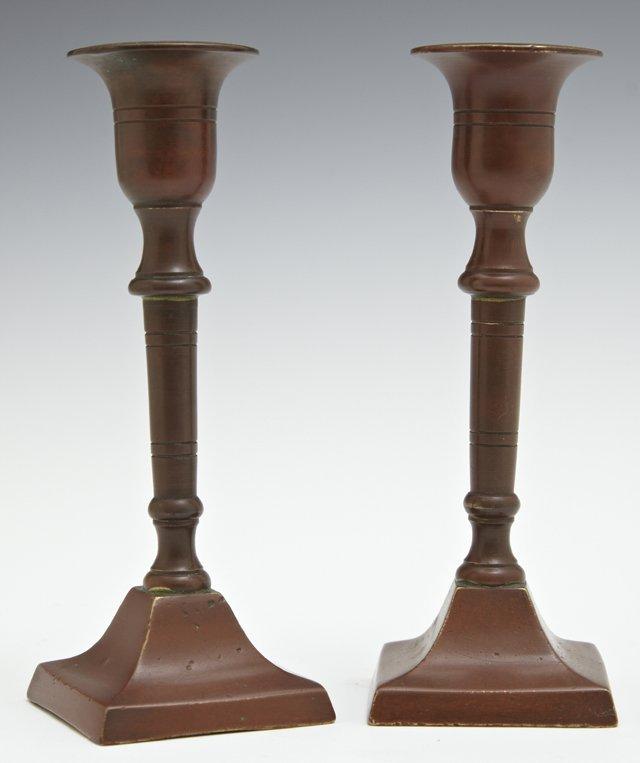 Pair of Diminutive Patinated Bronze Candlesticks, c.