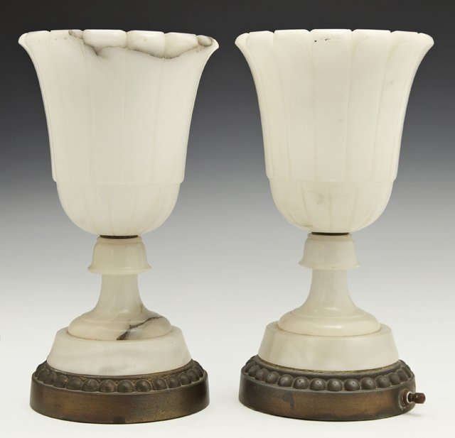 Pair of Carved Alabaster Boudoir Lamps, 20th c., of