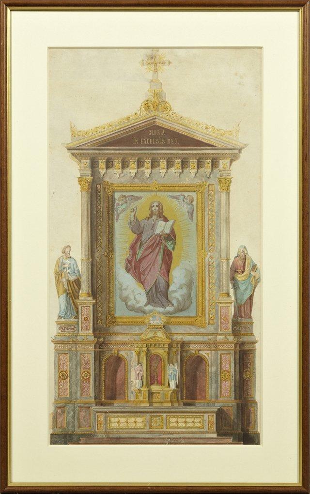 "Continental School, ""The Altar,"" 19th c., watercolor,"
