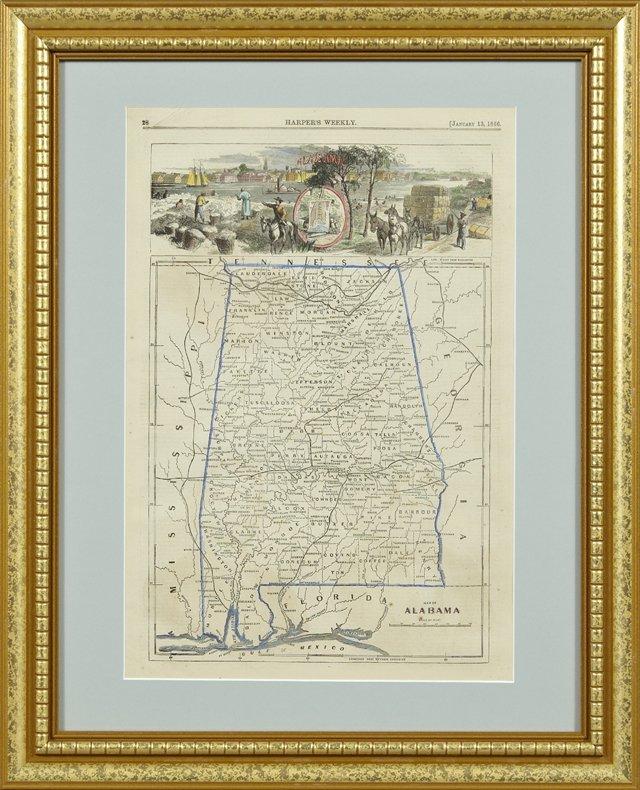 """Map of Alabama,"" January 13, 1866, hand colored"