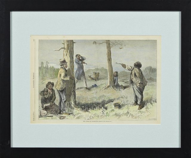 """""""The Duello in Blackville,"""" June 8, 1878, hand colored"""