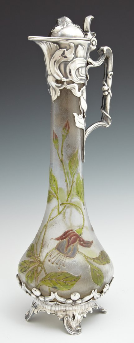 French Art Nouveau Frosted Glass Ewer, late 19th c.,