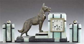Three Piece Art Deco Patinated Spelter, Onyx and Marble