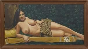 "American School, ""Reclining Nude,"" 20th c., oil on"
