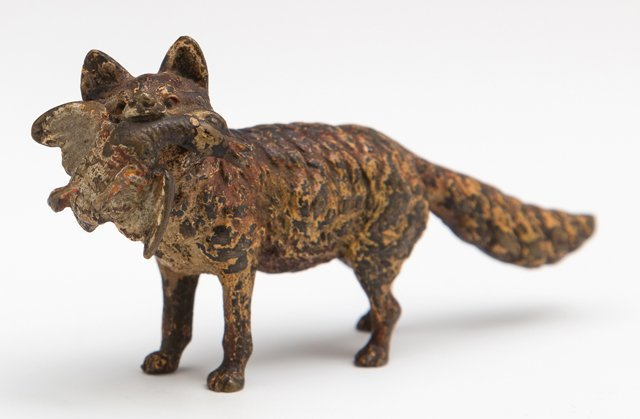 Cold Painted Vienna Bronze, 19th c., of a fox with a