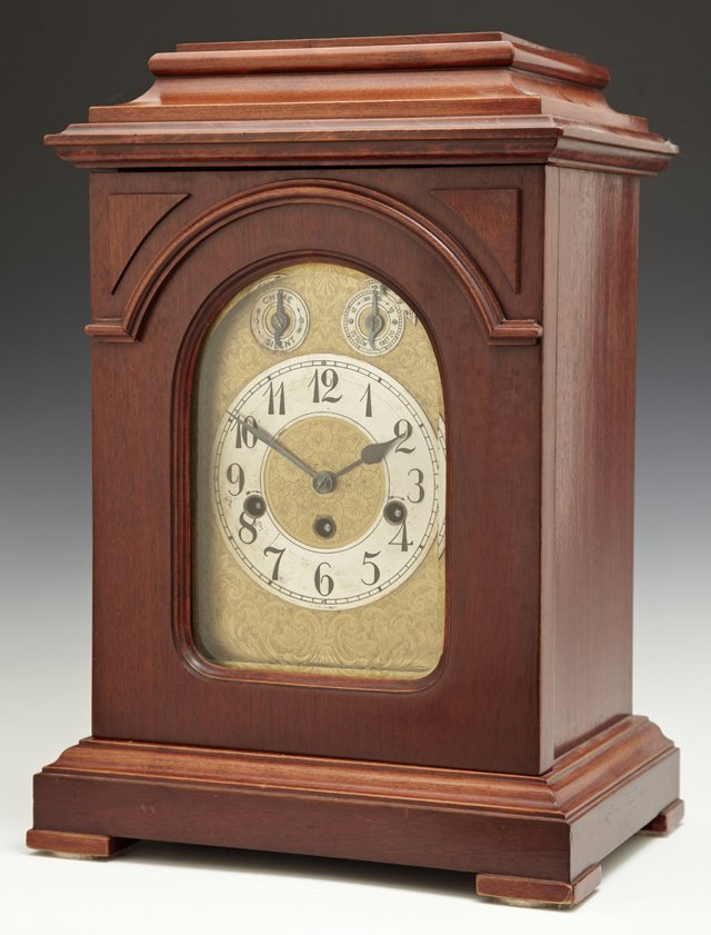 German Carved Mahogany Bracket Clock, 20th c., time and