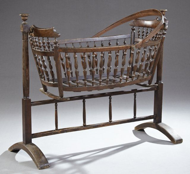 French Victorian Carved Walnut Baby Cradle, 19th c.,
