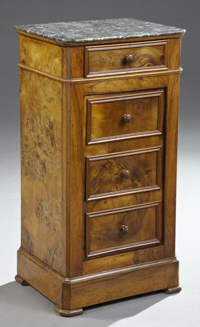 French Empire Carved Walnut Marble Top Nightstand, 19th