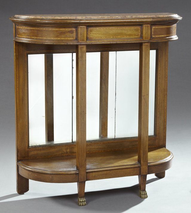 French Empire StyInlaid Walnut Marble Top Console, 20th