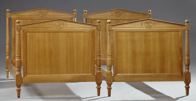 Pair of French Directoire Style Carved Cherry Beds,