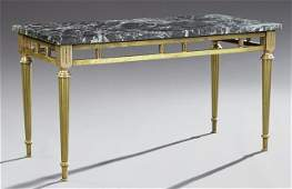 French Louis XVI Style Brass Marble Top Coffee Table
