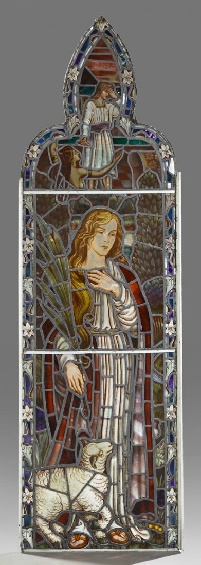English Reverse Painted Leaded Stained Glass Panel,