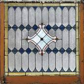 American Slag Glass Leaded Stained Glass Panel, c.