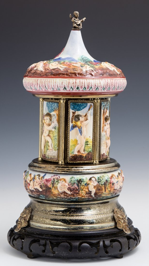Reuge Capodimonte Music Box Carousel, 20th c.,