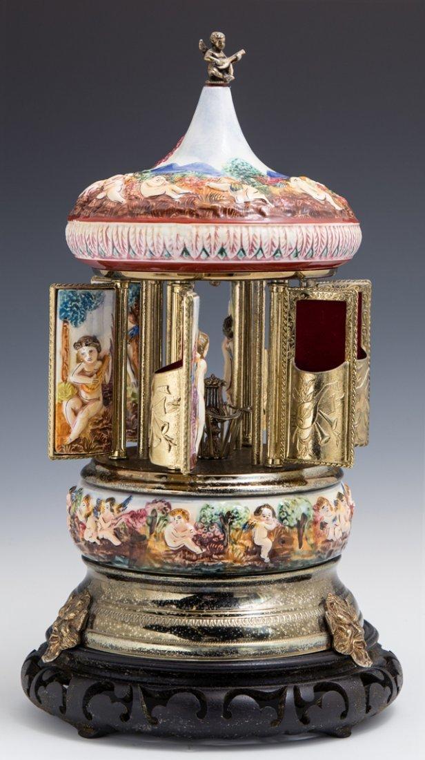 Reuge Capodimonte Music Box Carousel, 20th c., - 2