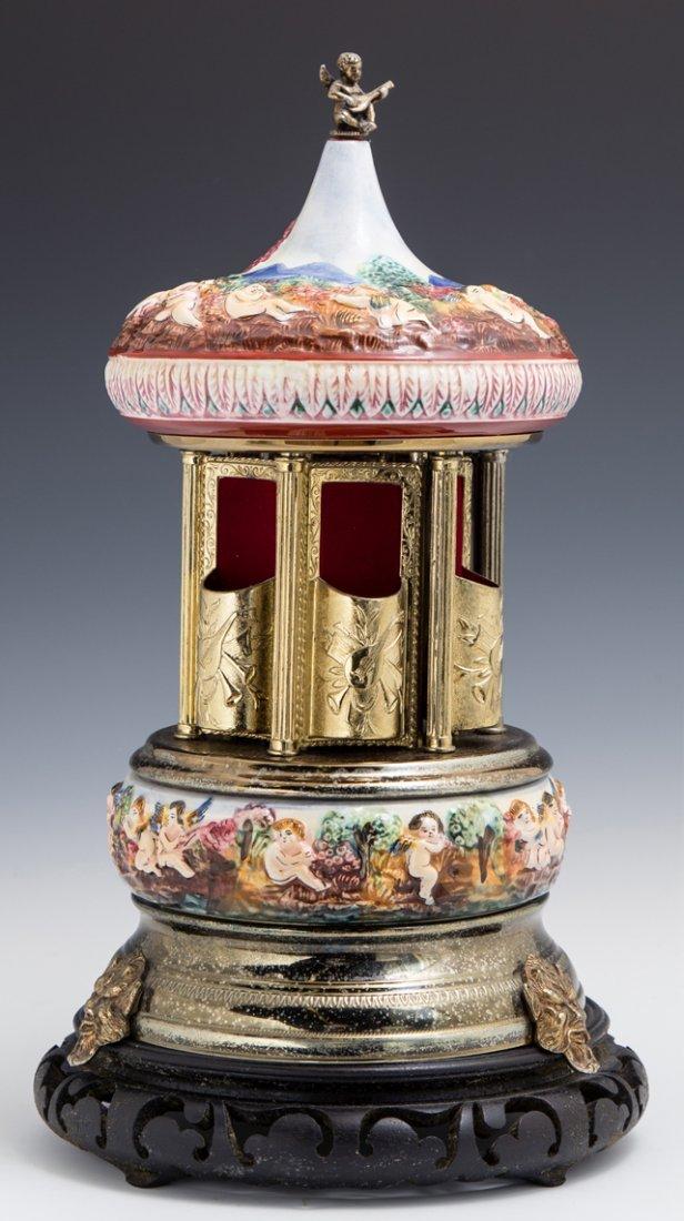 Reuge Capodimonte Music Box Carousel, 20th c., - 3