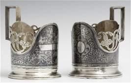 Pair of Russian Gilt 875 Silver Niello Tea Glass