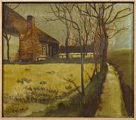 """American School, """"Country Cabin,"""" 20th c., oil on"""