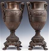 Pair of Patinated Spelter Baluster Garniture Handled