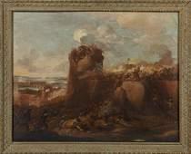 """French School, """"Battle Scene,"""" early 19th c., oil"""