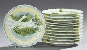 Twelve Piece Ceramic Asparagus Set 19th c consisting