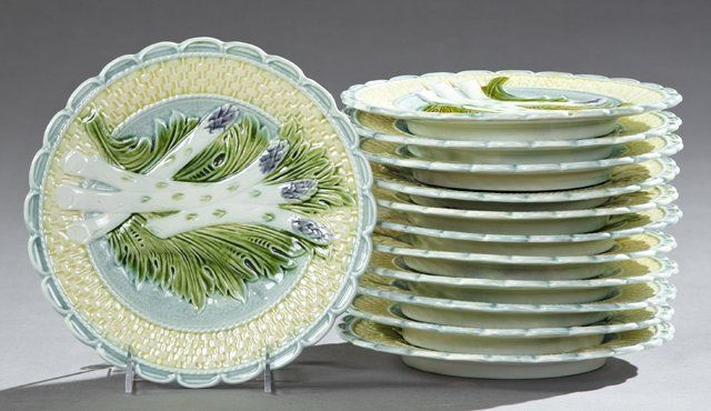 Twelve Piece Ceramic Asparagus Set, 19th c., consisting