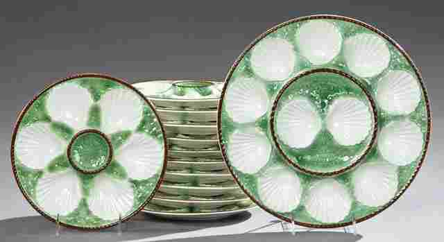 Twelve Piece Ceramic Oyster Set, early 20th c.,