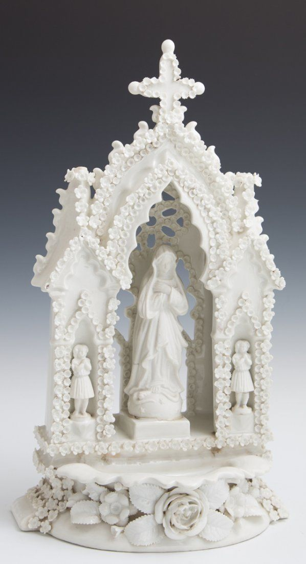 Biscuit and High Glaze White Porcelain Holy Water Font,