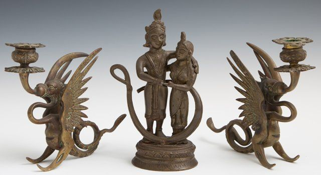 Three Bronze Pieces, early 20th c., consisting of a