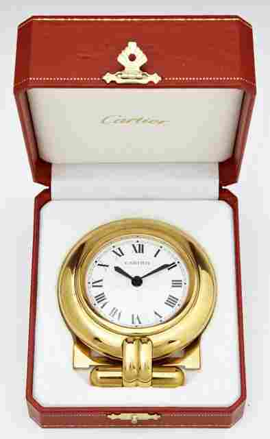 Cartier Travel Alarm Clock, Ser. # 0548317, quartz