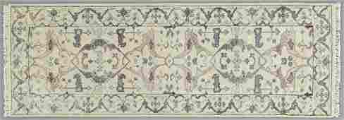 Wool and Silk Turkish Angora Oushak Runner, 2' 7 x 8'.
