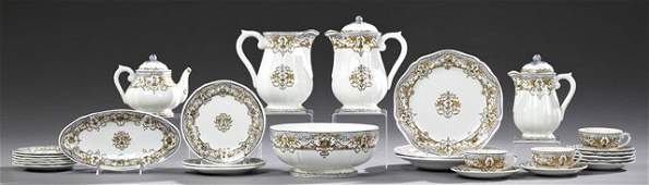 French Twenty-Eight Piece Partial Hand-Painted Ceramic