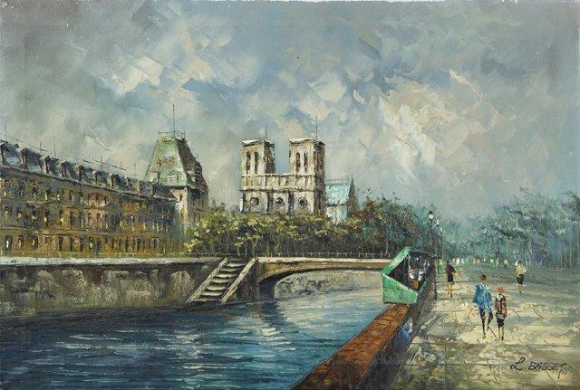 """Louis-Charles Basset (1948-, French), """"Paris Street"""