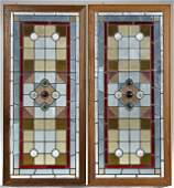 Pair of English Victorian Stained and Leaded Glass