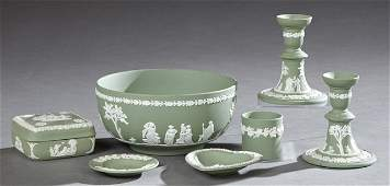 Group of Seven Pieces of Wedgwood Green Jasperware,