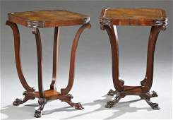 Pair of Regency Style Carved Mahogany Leather Top End