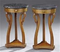Pair of Carved Walnut Marble Top Carved Walnut Lamp