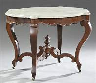 American Rococo Revival Carved Mahogany Marble Top