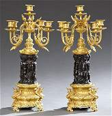 Pair of French Gilt and Patinated Bronze Five Light