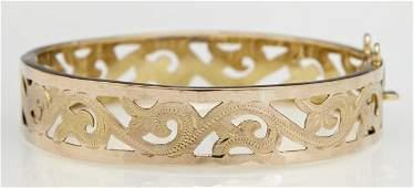 14K Yellow Gold Filigree Hinged Bangle Bracelet, mid