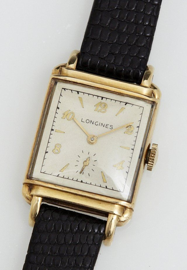 Gentleman's 14K Yellow Gold Longines Tank Wrist Watch,