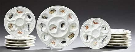 Thirteen Piece Ceramic Oyster Set 20th c by