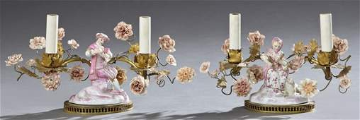 Pair of French Style Figural Porcelain Two Light Table